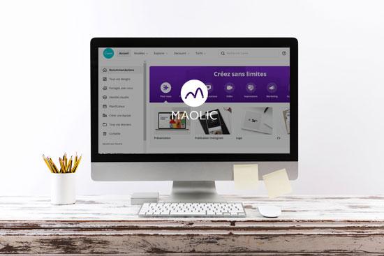 Astuces Canva : Image d'un écran d'ordinateur avec la page d'accueil du site CANVA